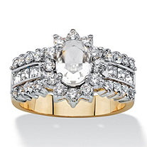 .82 TCW Oval-Cut Crystal and Cubic Zirconia Halo Cocktail Ring MADE WITH SWAROVSKI ELEMENTS 14k Gold-Plated