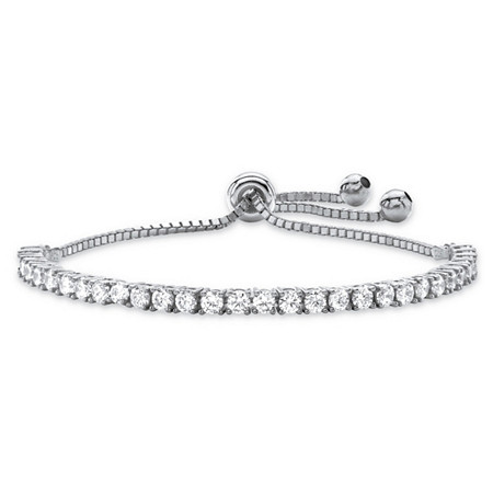 3 TCW Round White Cubic Zirconia Adjustable Drawstring Slider Strand Bracelet in Silvertone 10