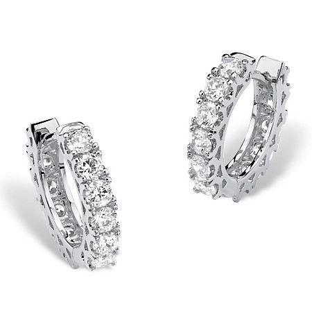 "2.16 TCW Round Cubic Zirconia Huggie-Hoop Earrings with Surgical Steel Posts in Silvertone (1/2"") at PalmBeach Jewelry"