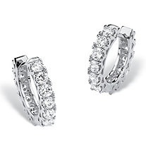 "2.16 TCW Round Cubic Zirconia Huggie-Hoop Earrings with Surgical Steel Posts in Silvertone (.5"")"