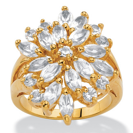 Marquise-Cut White Crystal Split-Shank Cluster Cocktail Ring MADE WITH SWAROVSKI ELEMENTS 18k Gold-Plated at PalmBeach Jewelry