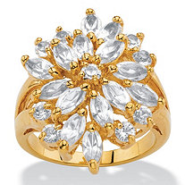 Marquise-Cut White Crystal Split-Shank Cluster Cocktail Ring MADE WITH SWAROVSKI ELEMENTS 18k Gold-Plated