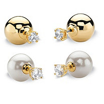 2.96 TCW Round Cubic Zirconia 2-Pair Set of Reversible Front-Back Ball Stud Earrings 14k Gold-Plated