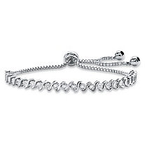 Round White Diamond Accent Adjustable Drawstring S-Link Strand Bracelet in Silvertone 9.25""