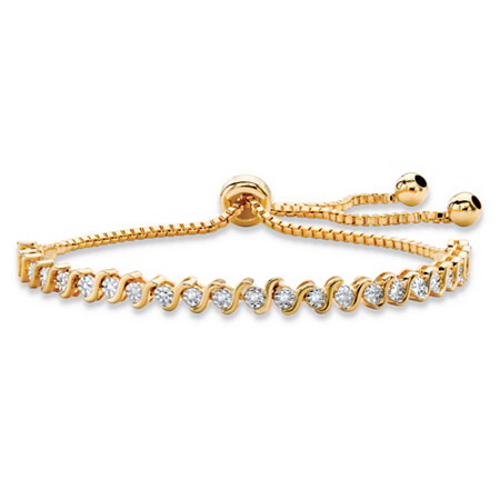"Round White Diamond Accent Adjustable Drawstring S-Link Strand Bracelet 14k Gold-Plated 9.25"" at PalmBeach Jewelry"