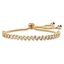 Round White Diamond Accent Adjustable Drawstring S-Link Strand Bracelet 14k Gold-Plated 9.25""