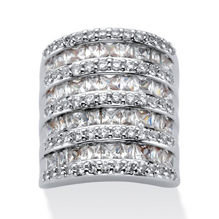 6.26 TCW Baguette-Cut and Round Cubic Zirconia Channel-Set Cocktail Ring in Silvertone at PalmBeach Jewelry