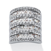 6.26 TCW Baguette-Cut and Round Cubic Zirconia Channel-Set Cocktail Ring in Silvertone
