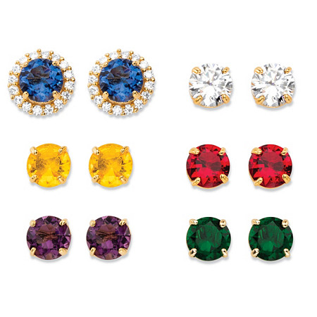 Round Simulated Gemstone and Cubic Zirconia 6-Pair Interchangeable Halo Stud Earrings Set 18.90 TCW 18k Gold-Plated at PalmBeach Jewelry