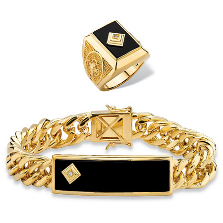 """Men's Genuine Black Onyx and Diamond Accent 2-Piece Ring and Curb-Link Bracelet Set 8"""" Gold-Plated at PalmBeach Jewelry"""