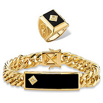"Men's Genuine Black Onyx and Diamond Accent 2-Piece Ring and Curb-Link Bracelet Set 8"" 14k Gold-Plated"
