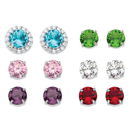 8.80 TCW Round Simulated Gemstone and Cubic Zirconia 6-Pair Interchangeable Halo Stud Earrings Set in Silvertone at PalmBeach Jewelry