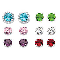 8.80 TCW Round Simulated Gemstone and Cubic Zirconia 6-Pair Interchangeable Halo Stud Earrings Set in Silvertone