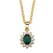 ".57 TCW Oval-Cut Simulated Emerald and Cubic Zirconia Halo Pendant Necklace MADE WITH SWAROVSKI ELEMENTS 14k Gold-Plated 18""-20"""