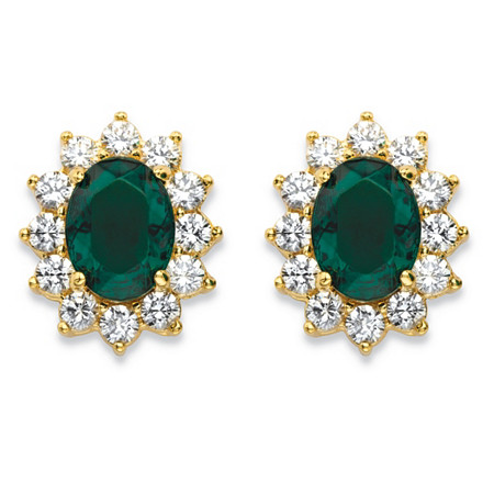 1.14 TCW Oval-Cut Simulated Emerald and CZ Halo Stud Earrings MADE WITH SWAROVSKI ELEMENTS 14k Gold-Plated at PalmBeach Jewelry