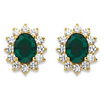 1.14 TCW Oval-Cut Simulated Emerald and CZ Halo Stud Earrings MADE WITH SWAROVSKI ELEMENTS 14k Gold-Plated