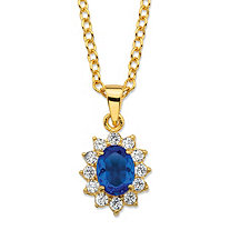 ".57 TCW Oval-Cut Simulated Blue Sapphire and Cubic Zirconia Halo Pendant Necklace MADE WITH SWAROVSKI ELEMENTS 14k Gold-Plated 18""-20"""