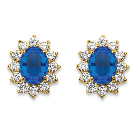 1.14 TCW Simulated Blue Sapphire and CZ Halo Stud Earrings MADE WITH SWAROVSKI ELEMENTS 14k Gold-Plated at PalmBeach Jewelry