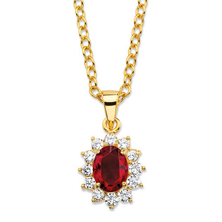 .57 TCW Oval-Cut Simulated Garnet and Cubic Zirconia Halo Pendant Necklace MADE WITH SWAROVSKI ELEMENTS 14k Gold-Plated 18