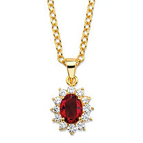 ".57 TCW Oval-Cut Simulated Garnet and Cubic Zirconia Halo Pendant Necklace MADE WITH SWAROVSKI ELEMENTS 14k Gold-Plated 18""-20"""