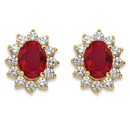 1.14 TCW Oval-Cut Garnet Red Crystal and Cubic Zirconia Halo Stud Earrings MADE WITH SWAROVSKI ELEMENTS 14k Gold-Plated at PalmBeach Jewelry