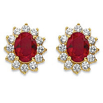 1.14 TCW Oval-Cut Garnet Red Crystal and Cubic Zirconia Halo Stud Earrings MADE WITH SWAROVSKI ELEMENTS 14k Gold-Plated