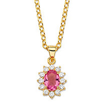 ".57 TCW Oval Simulated Pink Tourmaline and Cubic Zirconia Halo Pendant Necklace MADE WITH SWAROVSKI ELEMENTS 14k Gold-Plated 18""-20"""