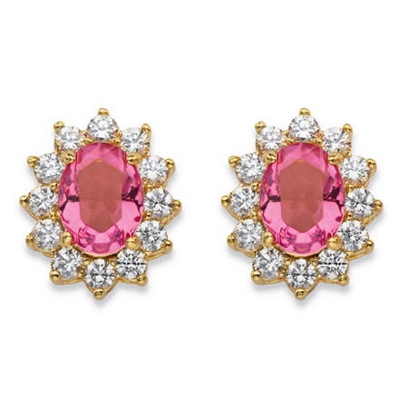 1.14 TCW Simulated Pink Tourmaline and Cubic Zirconia Halo Stud Earrings MADE WITH SWAROVSKI ELEMENTS 14k Gold-Plated at PalmBeach Jewelry