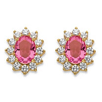 1.14 TCW Simulated Pink Tourmaline and Cubic Zirconia Halo Stud Earrings MADE WITH SWAROVSKI ELEMENTS 14k Gold-Plated