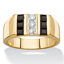 Men's .19 TCW Round Cubic Zirconia and Square-Cut Genuine Black Onyx Ring 14k Gold-Plated