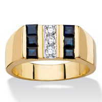 Men's Round CZ And Square-Cut Genuine Midnight Blue Sapphire Ring