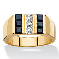 Men's 1.69 TCW Round Cubic Zirconia and Square-Cut Genuine Midnight Blue Sapphire Ring 14k Gold-Plated