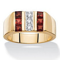 SETA JEWELRY Men's 1.45 TCW Round Cubic Zirconia and Square-Cut Genuine Red Garnet Ring 14k Gold-Plated