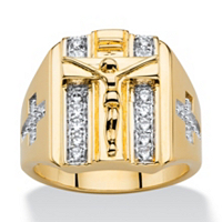 Men's .35 TCW Round Cubic Zirconia Double Row Crucifix And Cross Ring 14k Gold-Plated ONLY $19.79