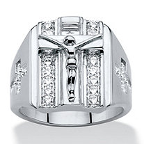 Men's .35 TCW Round Cubic Zirconia Double Row Crucifix and Cross Ring ini Silvertone