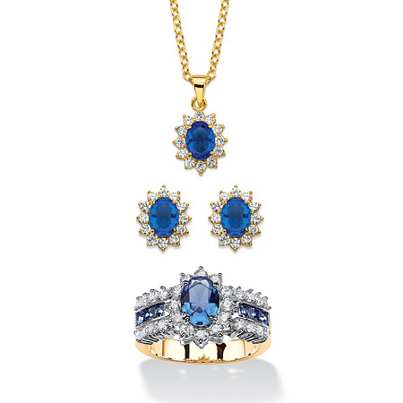 2.53 TCW Simulated Sapphire and CZ 3-Piece Necklace, Earrings and Ring Set 18