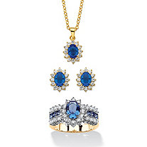 "2.53 TCW Simulated Sapphire and CZ 3-Piece Necklace, Earrings and Ring Set 18""-20"" 14k Gold-Plated MADE WITH SWAROVSKI ELEMENTS"