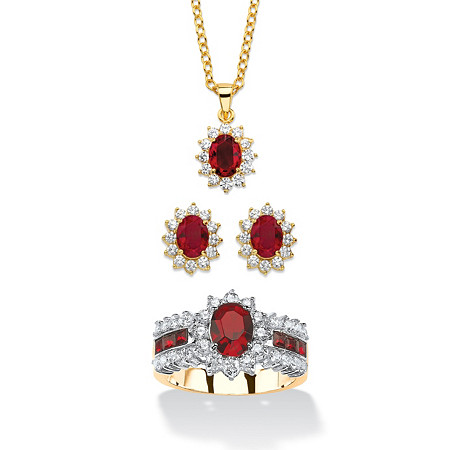 2.53 TCW Simulated Garnet and CZ 3-Piece Necklace, Earrings and Ring Set 18