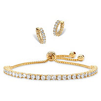 SETA JEWELRY 5.40 TCW Round Cubic Zirconia 2-Piece Set of Eternity Huggie-Hoop Earrings and Adjustable Drawstring Bracelet 14k Gold-Plated 10