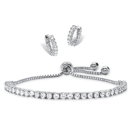 5.16 TCW Round Cubic Zirconia 2-Piece Set of Huggie-Hoop Earrings and Adjustable Drawstring Bracelet in Silvertone 10