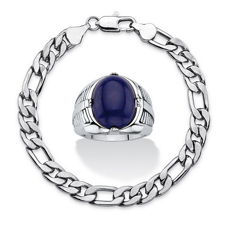 Men's 2-Piece Oval-Cut Genuine Blue Lapis Platinum-Plated Cabochon Ring and Silvertone Figaro-Link Bracelet Set 8