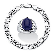 "Men's 2-Piece Oval-Cut Genuine Blue Lapis Platinum-Plated Cabochon Ring and Silvertone Figaro-Link Bracelet Set 8"" (6.5mm)"