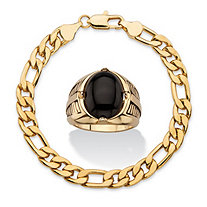 SETA JEWELRY Men's 2-Piece Oval-Cut 14k Gold-Plated Genuine Black Onyx Cabochon Ring and Gold Ion-Plated Figaro-Link Bracelet Set 8