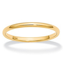 Polished Wedding Ring Band in 14k Yellow Gold (2mm)