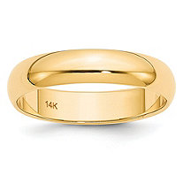 Polished Wedding Ring Band in 14k Yellow Gold (5mm)