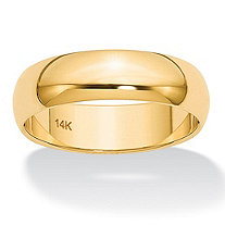 Polished Wedding Ring Band in 14k Yellow Gold (6mm)