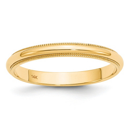 Polished Wedding Ring Band with Milgrain Detailing in 14k Yellow Gold (3mm) at PalmBeach Jewelry