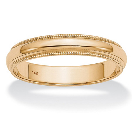 Polished Wedding Ring Band with Milgrain Detailing in 14k Yellow Gold (4mm) at PalmBeach Jewelry