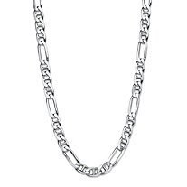 Polished Mariner-Figaro Link Chain Necklace with Lobster Clasp in Sterling Silver 24