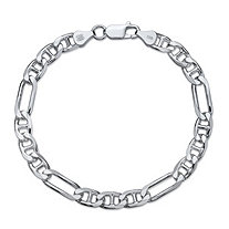 Polished Figaro-Link Chain Bracelet with Lobster Clasp in Sterling Silver 8
